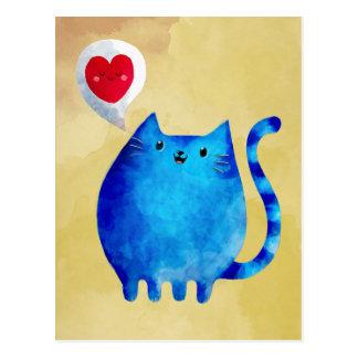 青い子猫猫の愛 ポストカード