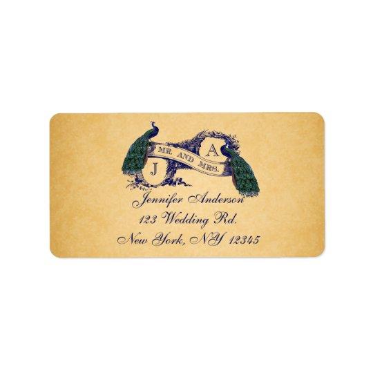 青い孔雀のヴィンテージのペーパー結婚式RSVP 宛名ラベル