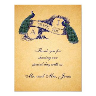青い孔雀のヴィンテージの結婚は感謝していしています カード