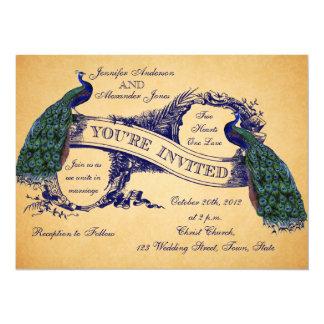 青い孔雀のヴィンテージの結婚式招待状 カード