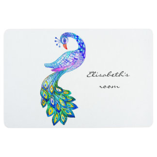 青い孔雀の水彩画 フロアマット