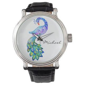 青い孔雀の水彩画 腕時計