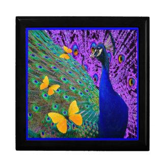 青い孔雀の黄色の蝶ファンタジーの芸術 ギフトボックス