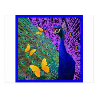 青い孔雀の黄色の蝶ファンタジーの芸術 ポストカード