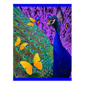 青い孔雀の黄色の蝶ファンタジーの芸術 葉書き