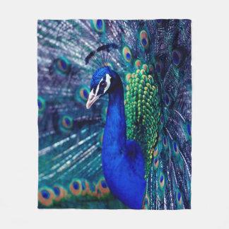 青い孔雀 フリースブランケット