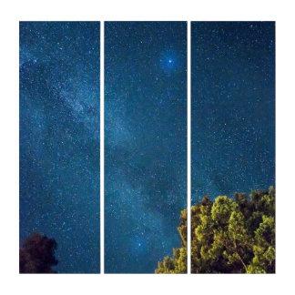 青い宇宙の空の星のゲートの眺めのアクリルのトリプティク トリプティカ