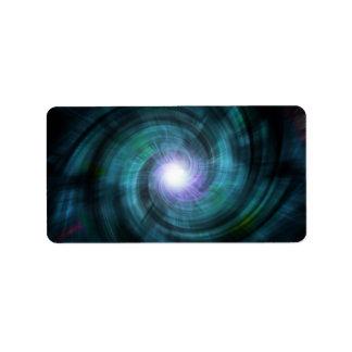 青い宇宙回転 ラベル