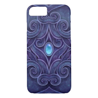 青い宝石が付いているのどによって切り分けられる花こう岩パターン iPhone 8/7ケース
