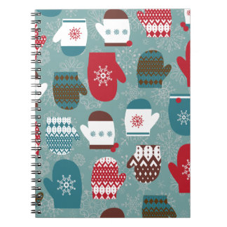 青い居心地のよい冬のクリスマスのミトン ノートブック
