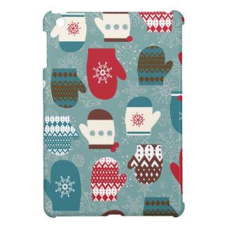 青い居心地のよい冬のクリスマスのミトン iPad MINIケース