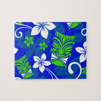 青い島の花のTikiのマスク ジグソーパズル