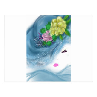 青い帽子の女性花嫁女中の芸術 ポストカード