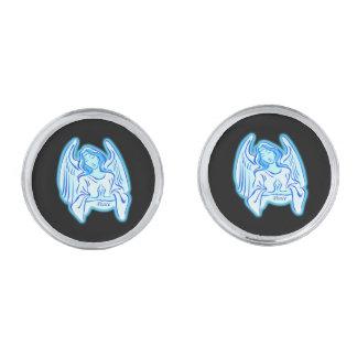 青い平和天使のカフスボタン シルバー カフスボタン