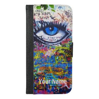 青い悪のまなざしのモダンの落書き iPhone 6/6S PLUS ウォレットケース