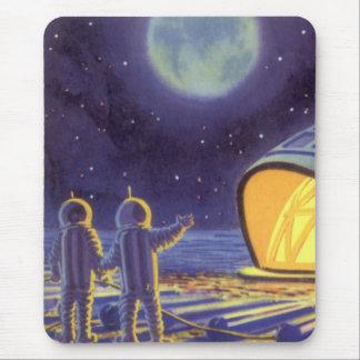 青い惑星の月のヴィンテージの空想科学小説のエイリアン マウスパッド