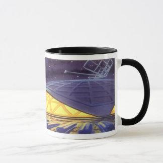 青い惑星の月のヴィンテージの空想科学小説のエイリアン マグカップ