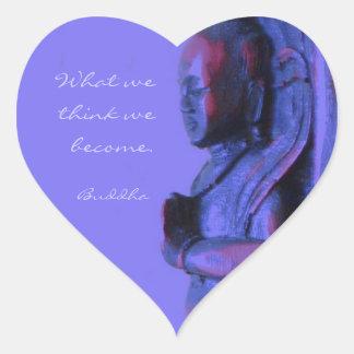 青い手によって切り分けられる仏 ハートシール