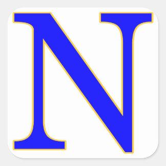 青い手紙Nのステッカー スクエアシール