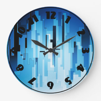 青い技術の芸術の時計 ラージ壁時計