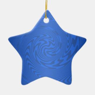 青い抽象デザイン 陶器製星型オーナメント