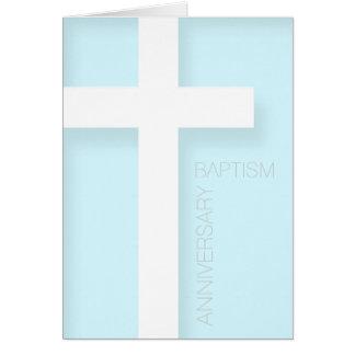 青い挨拶の洗礼のモダンな記念日 カード