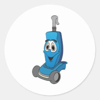 青い掃除機 丸型シール