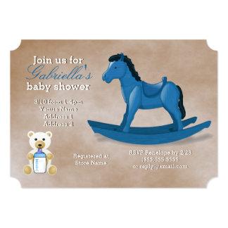 青い揺り木馬のベビーシャワー カード