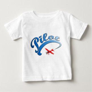 青い文字が付いているレトロの試験グラフィック ベビーTシャツ