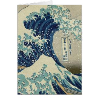 青い日本人の波のイラストレーション カード