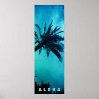 青い日没のアロハハワイのヤシの木の熱帯地方旅行 ポスター