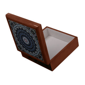 青い曼荼羅のタイルトップの木製箱 ギフトボックス