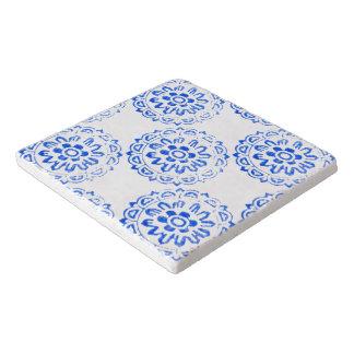 青い曼荼羅の円形のモチーフのデザイン2 + 加えて下さい トリベット