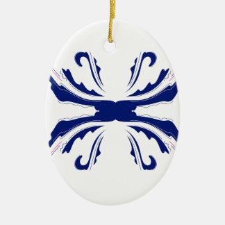 青い曼荼羅の芸術 セラミックオーナメント