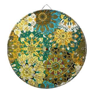 青い曼荼羅を方向づけて下さい及び|のインドのモチーフを黄色にして下さい ダーツボード