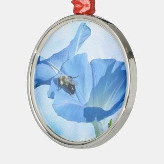 青い朝顔および《昆虫》マルハナバチ シルバーカラー丸型オーナメント
