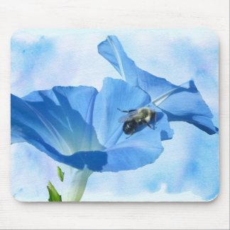 青い朝顔および《昆虫》マルハナバチ マウスパッド