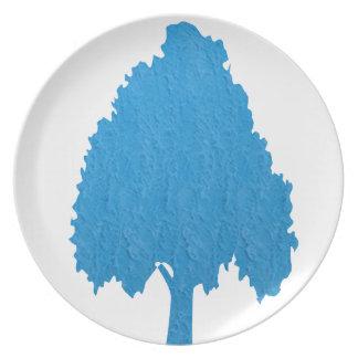 青い木のアクリルの記号による芸術NVN38のnavinJOSHI パーティープレート