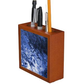 青い木の抽象美術の机のオルガナイザー ペンスタンド