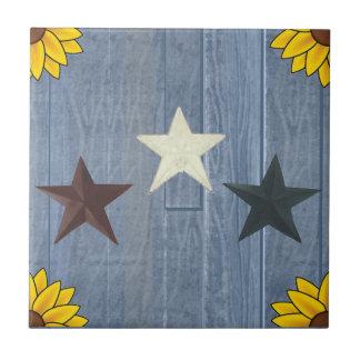 青い木の3つの星 タイル