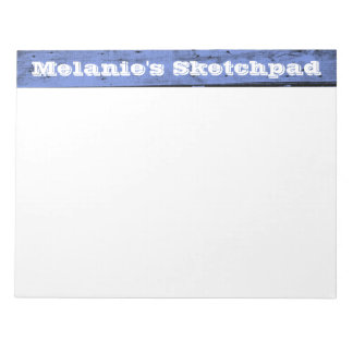 青い木製のPlankedの大きいスケッチ帳 ノートパッド