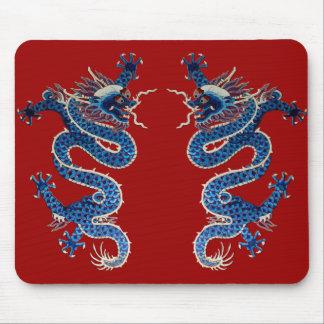 青い東洋のドラゴンの旧式で中国のな刺繍 マウスパッド