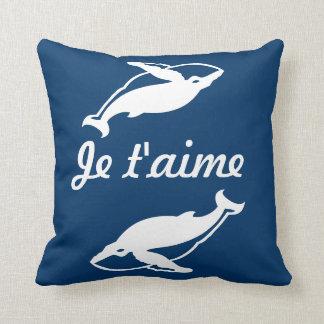 青い枕のJeのt'aimeの白いクジラ クッション