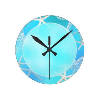 青い柱時計のアクアマリンのヒトデ ラウンド壁時計