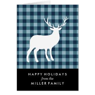 青い格子縞および白い雄鹿|の休日の挨拶状 カード