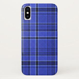 青い格子縞のタータンチェック iPhone X ケース