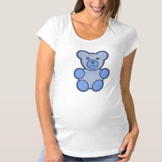 青い格子縞のテディー・ベア マタニティTシャツ