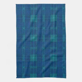青い格子縞の台所タオル キッチンタオル