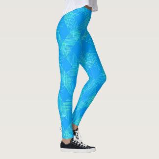 青い格子縞パターン レギンス