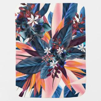 青い植物および花との熱帯デザイン ベビー ブランケット